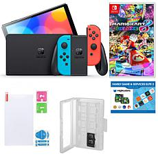 Nintendo Switch OLED in Neon w/Mario Kart 8, Accessory Kit & Voucher