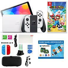 Nintendo Switch OLED in White w/Mario+Rabbids, Accessory Kit & Voucher