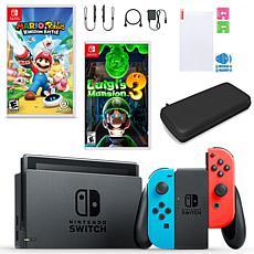 Nintendo Switch w/Mario + Rabbids, Luigi's Mansion & Accessories