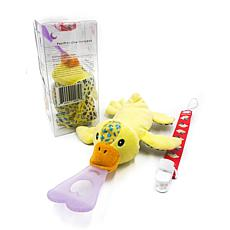 NISSI & JIREH 5-in-1 Universal Pacifier Holder & Teether w/ Clip- Duck