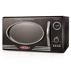 Nostalgia Retro 800-Watt Countertop Microwave Oven in Black