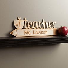 Number One Teacher Personalized Wood Plaque