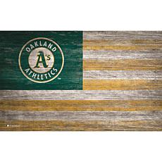 Oakland Athletics  Distressed Flag 11x19
