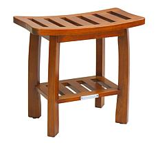 Oceanstar Wood Spa Shower Bench with Storage Shelf