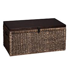Odessa Water Hyacinth Storage Trunk -Blackwash/Espresso