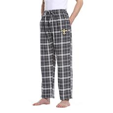 Officially Licensed Men's Plaid Flannel Pant by Concept Sports- Saints