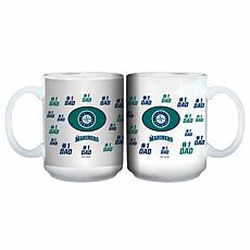 "Officially Licensed MLB ""#1 Dad"" 15 oz. White Mug - Mariners"