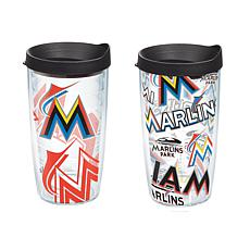 Officially Licensed MLB 16 oz. Tumbler Set with Lids - Miami Marlins