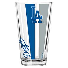 Officially Licensed MLB 16 oz. Vertical Decal Pint Glass - Dodgers