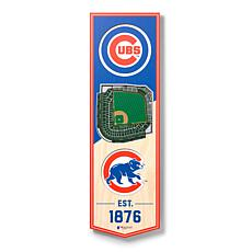 "Officially Licensed MLB 6"" x 19"" 3D Stadium Banner - Chicago Cubs"