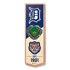 """Officially Licensed MLB 6"""" x 19"""" 3D Stadium Banner - Detroit Tigers"""