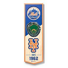 """Officially Licensed MLB 6"""" x 19"""" 3D Stadium Banner - New York Mets"""