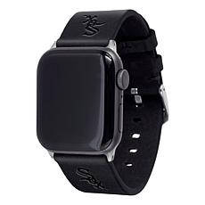 Officially Licensed MLB Apple Watch Blk Leather Band 42/44mm-White Sox