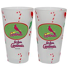 Officially Licensed MLB Christmas Day 16 oz. Pint Glass 2pk -Cardinals