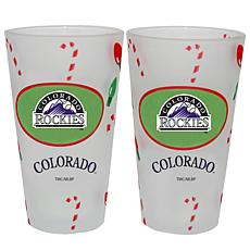 Officially Licensed MLB Christmas Day 16 oz. Pint Glass 2pk - Rockies