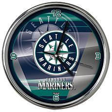 Officially Licensed MLB Shadow Chrome Clock - Mariners