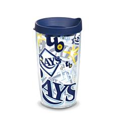Officially Licensed MLB Tampa Bay Rays All Over 16 oz. Tumbler w/Lid