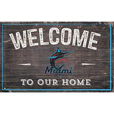 Officially Licensed MLB Welcome to our Home Sign - Miami Marlins
