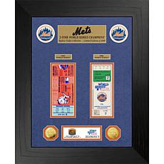 Officially Licensed MLB WS Gold Coin & Ticket Collection - NY Mets
