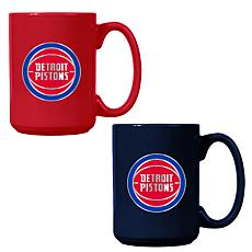 Officially Licensed NBA  15 oz. Team Colored Mug Set - Pistons