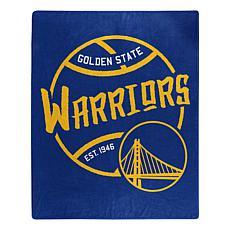 Officially Licensed NBA Black Top Raschel Throw - Warriors