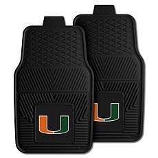 Officially Licensed NCAA  2pc Vinyl Car Mat Set - Un. of Miami