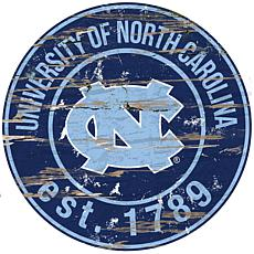Officially Licensed NCAA  Distressed Round Sign - North Carolina