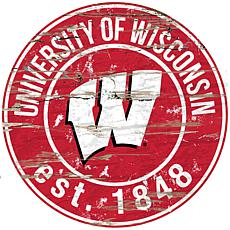 Officially Licensed NCAA  Distressed Round Sign - Un. of Wisconsin