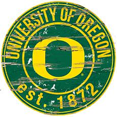 Officially Licensed NCAA  Distressed Round Sign - University of Oregon
