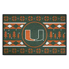 Officially Licensed NCAA Holiday Sweater Mat - University of Miami