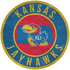 "Officially Licensed NCAA Kansas 12"" Wood Circle"