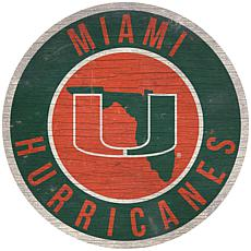 """Officially Licensed NCAA Miami 12"""" Wood Circle"""