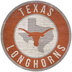 """Officially Licensed NCAA Texas 12"""" Wood Circle"""