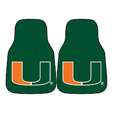 Officially Licensed NCAA University of Miami Carpet Car Mat 2-Pc Set