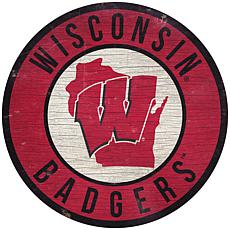 """Officially Licensed NCAA Wisconsin 12"""" Wood Circle"""