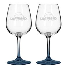 Officially Licensed NFL 12 oz. Wine Glass 2-pack - Chargers
