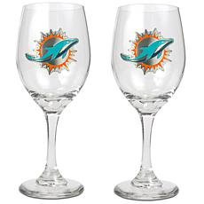 Officially Licensed NFL 2-piece Wine Glass Set-Miami