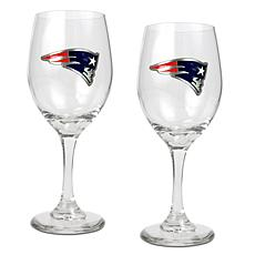 Officially Licensed NFL 2-piece Wine Glass Set-Patriots