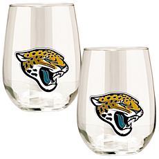 Officially Licensed NFL 2pc Wine Glass Set - Jaguars