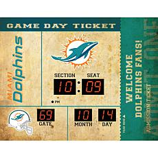 Officially Licensed NFL Bluetooth Scoreboard Wall Clock - Dolphins