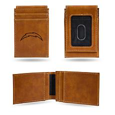 Officially Licensed NFL Brown Front Pocket Wallet - Chargers
