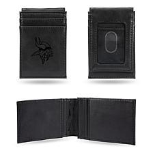 Officially Licensed NFL Engraved Black Front Pocket Wallet - Vikings