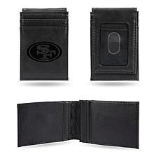 Officially Licensed NFL Engraved Black Front Pocket Wallet - 49ers