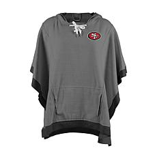 Officially Licensed NFL Heathered Hoodie Poncho - San Francisco 49ers
