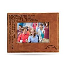 Officially Licensed NFL Laser Engraved Brown Picture Frame - Chargers