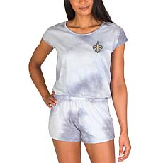 Officially Licensed NFL Marina Ladies Knit SS Romper - Saints
