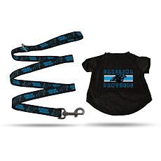 Officially Licensed NFL Medium Pet T-Shirt with 4' Leash - Panthers