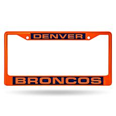 Officially Licensed NFL Orange Laser-Cut Chrome License Plate Frame...