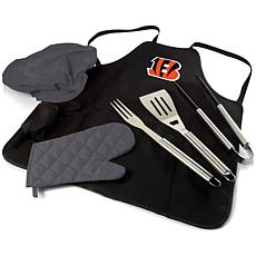 Officially Licensed NFL Picnic Time Apron Tote Pro Grill Set Bengals