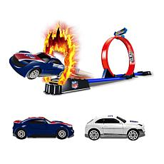 Officially Licensed NFL Racers - 2 Cars & Track Set - New York Giants